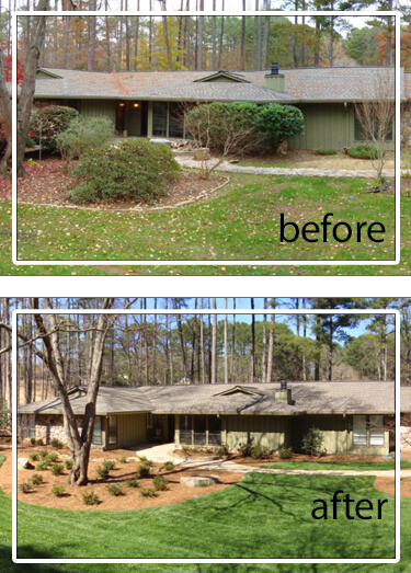 landscape renovation and repair before and after
